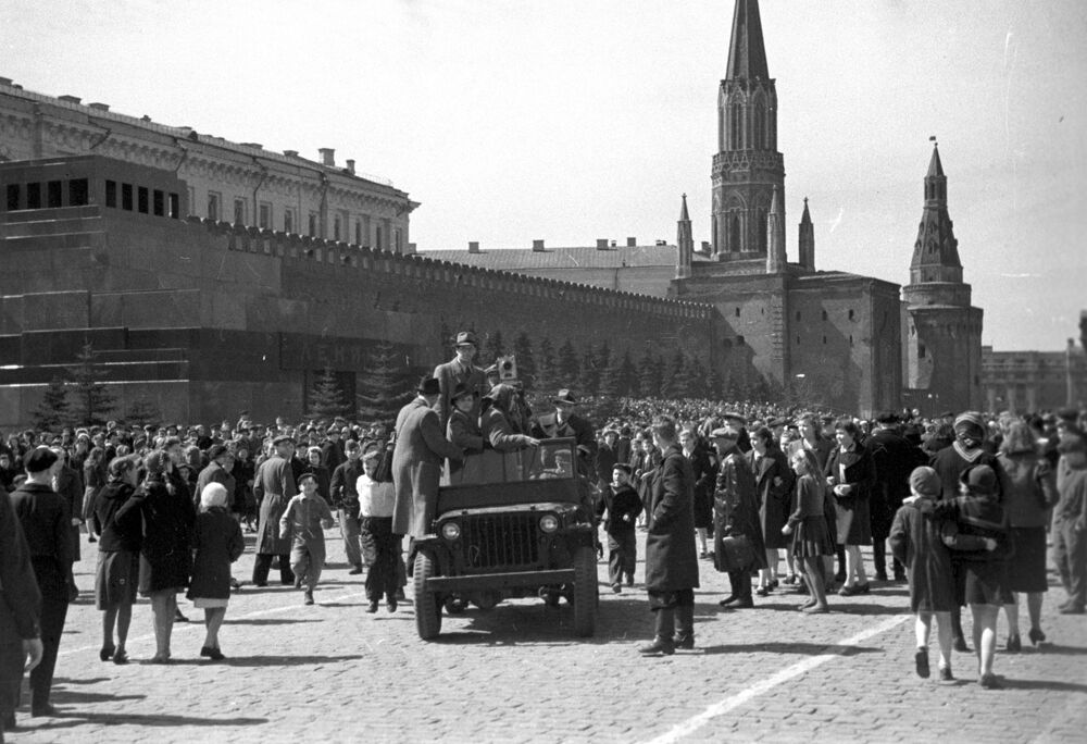 Cameramen arrive on Red Square during Victory Day celebrations on 9 May 1945