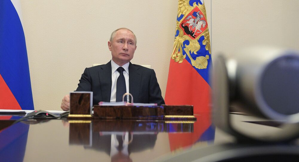 Russian President Vladimir Putin attends a meeting with members of the government via teleconference call at Novo-Ogaryovo state residence, outside Moscow, Russia