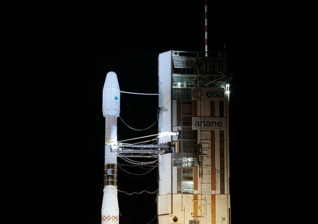 A photo taken early 09 June 2001 shows the Ariane 44L rocket at the Kourou space pad in French Guiana. The rocket took off 09 June 2001 after being delayed for a day by bad weather, placing an Intesat 901 satellite in geostationary orbit above the Atlantic Ocean, the European firm Arianespace said