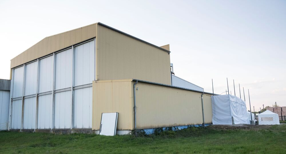 A cold store building serving as a temporary morgue is pictured on 9 April 2020 in Mulhouse, eastern France, on the twenty-fourth day of a strict lockdown in the country to stop the spread of COVID-19 (novel coronavirus).