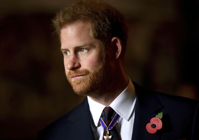 FILE - In this Thursday, 25 April 2019 file photo, Britain's Prince Harry, the Duke of Sussex, leaves the Anzac Day Service of Commemoration and Thanksgiving at Westminster Abbey, in London.