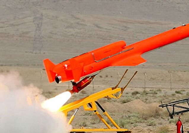 The Iranian jet powered drone Karrar launched by Rocket Assist Take-Off (RATO) booster, acceleratingh the vehicle from a stationary ground launcher. Karrar can also be launched from an aerial platform.