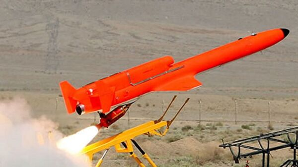 The Iranian jet powered drone Karrar launched by Rocket Assist Take-Off (RATO) booster, acceleratingh the vehicle from a stationary ground launcher. Karrar can also be launched from an aerial platform. - Sputnik International
