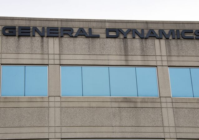The General Dynamics logo is seen on a building in Annapolis Junction, Maryland, on 11 March 2019.