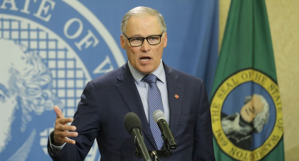 Washington Gov. Jay Inslee speaks during a news conference, Monday, April 13, 2020, at the Capitol in Olympia, Wash. Inslee appointed Pierce County Superior Court Judge G. Helen Whitener to the Washington Supreme Court to replace Justice Charles Wiggins, who retired from the court at the end of March