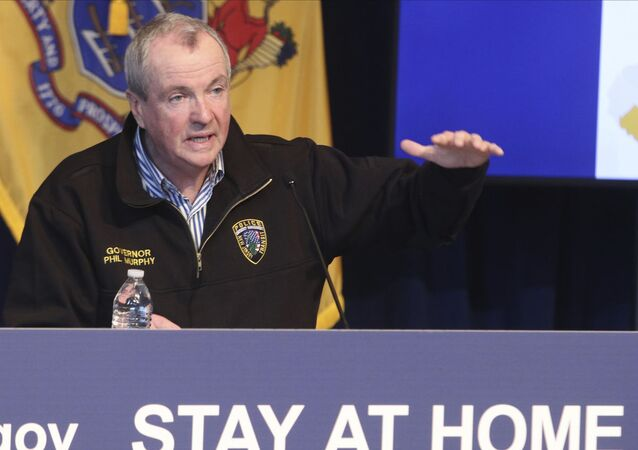 New Jersey Gov. Phil Murphy holds a news conference regarding the COVID-19 cases at the War Memorial in Trenton, N.J. on Saturday, April 11, 2020