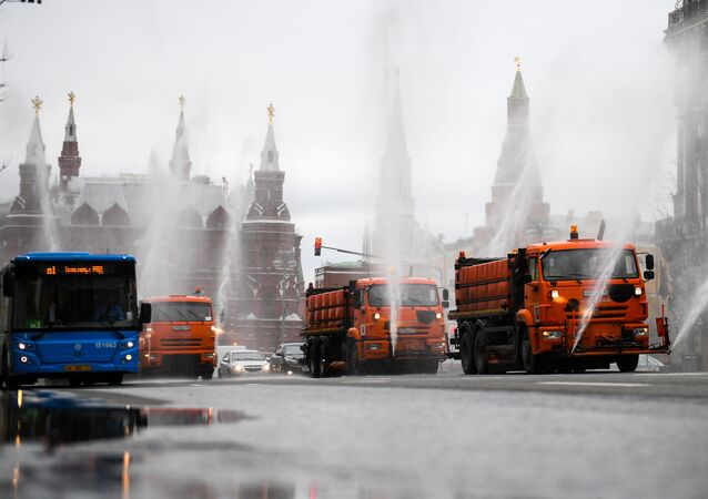 Disinfection of roads and sidewalks in Moscow