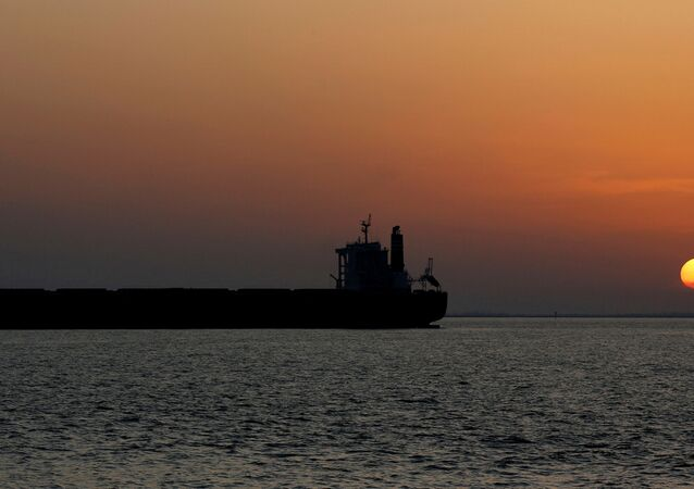 An oil tanker sits anchored off the Fos-Lavera oil hub near Marseille, France, September 17