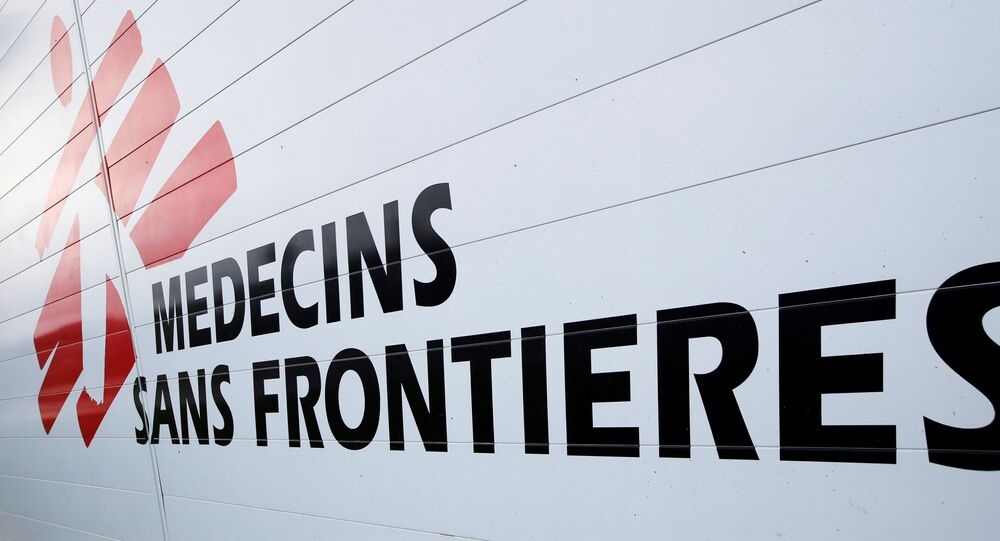 The logo of Medecins Sans Frontieres (MSF - Doctors Without Borders) is seen at the international medical humanitarian organisation MSF logistique centre in Merignac near Bordeaux, France, December 6, 2018