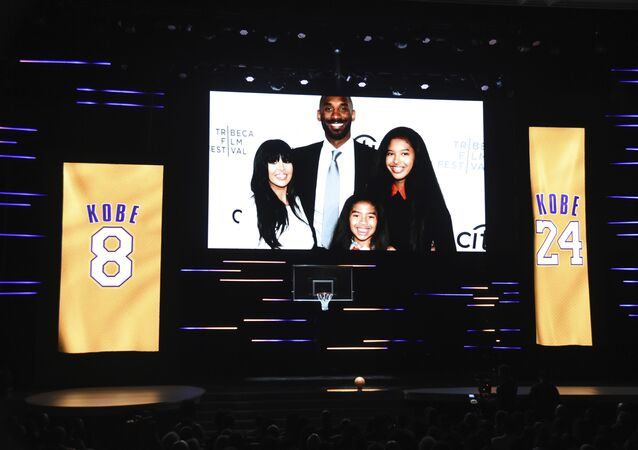 An image of Vanessa Bryant, from left, Kobe Bryant, Natalia Bryant, and Gianna Bryant appears during the Kobe Bryant tribute segment at the 51st NAACP Image Awards at the Pasadena Civic Auditorium on Saturday, Feb. 22, 2020, in Pasadena, Calif