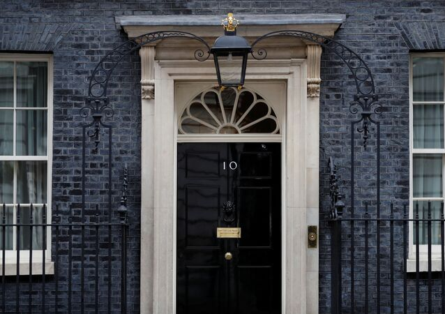 The door of 10 Downing Street in London as the spread of the coronavirus disease (COVID-19) continues, London, Britain, April 6, 2020.