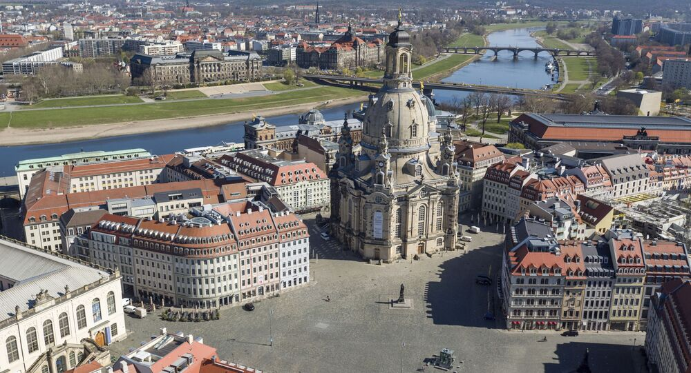 The centre of Dresden with the Frauenkirche and the Neumarkt is deserted because of the restrictions during the coronavirus outbreak inn Dresden, Germany, 6 April 2020