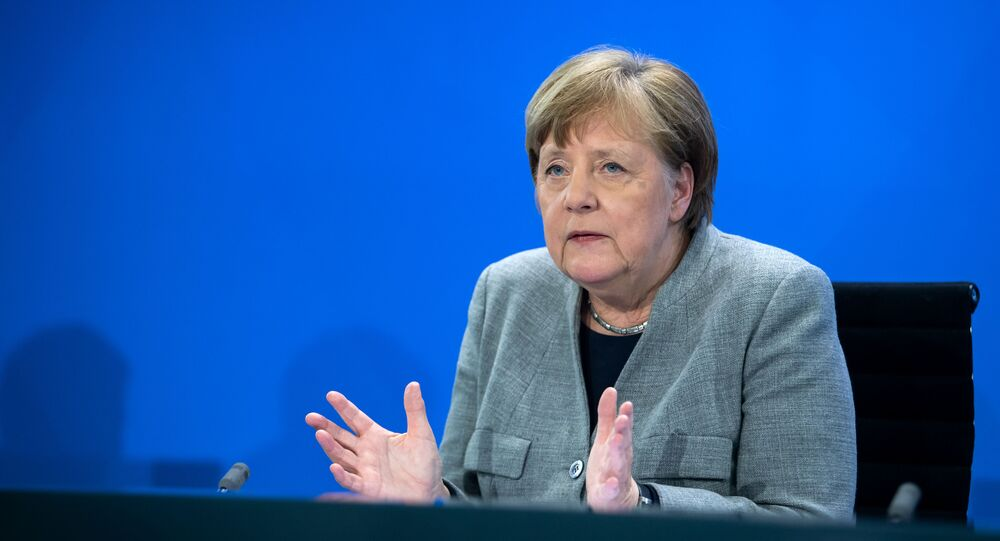 German Chancellor Angela Merkel addresses a press conference on German government's measures to avoid further spread of the novel coronavirus COVID-19, on April 15, 2020 following a video conference with the leaders of the German federal states at the chancellery in Berlin.
