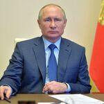 Russian President Vladimir Putin speaking to government officials regarding the state's efforts to battle the novel coronavirus. April 20, 2020.