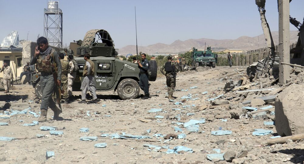 Security forces are deployed to the site of a suicide attack between Taliban insurgents and government forces near the main police station in eastern Paktia province (File)