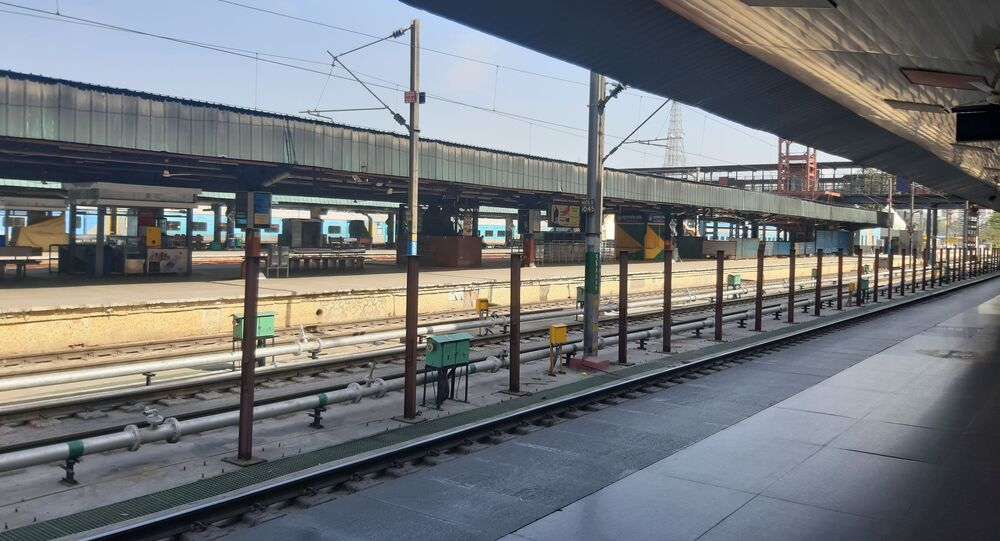 An empty New Delhi railway station, which normally handles 400 trains and almost half a million people daily