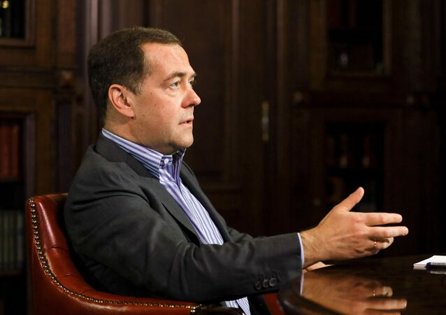 Deputy Chairman of the of the Security Council of Russia Dmitry Medvedev during an interview on 17 April 2020.