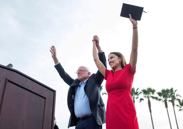 U.S. Senator Bernie Sanders and Representative Alexandria Ocasio-Cortez  during a campaign rally at Venice Beach in Los Angeles, California, U.S., December 21, 2019