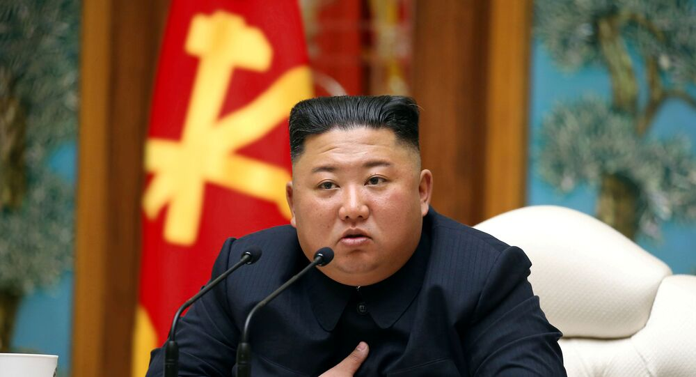 North Korean leader Kim Jong Un takes part in a meeting of the Political Bureau of the Central Committee of the Workers' Party of Korea (WPK) in this image released by North Korea's Korean Central News Agency (KCNA) on April 11, 2020