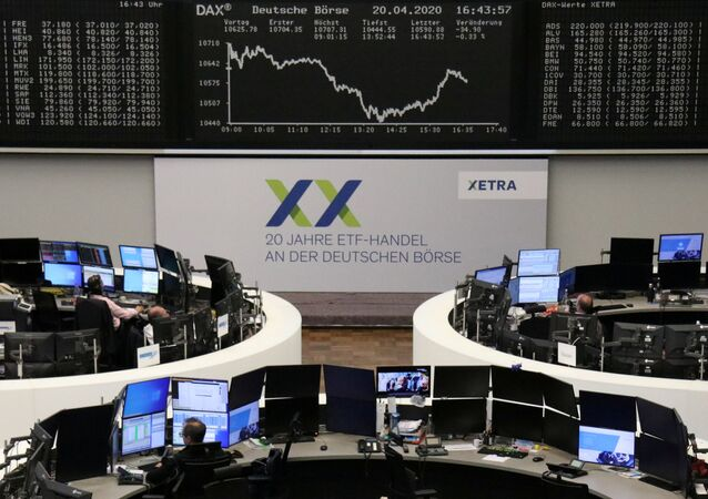 The German share price index DAX graph is pictured at the stock exchange in Frankfurt, Germany, April 20, 2020