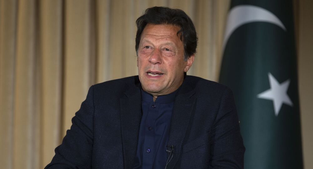 Pakistan's Prime Minister Imran Khan speaks to The Associated Press, in Islamabad, Pakistan, 16 March 2020