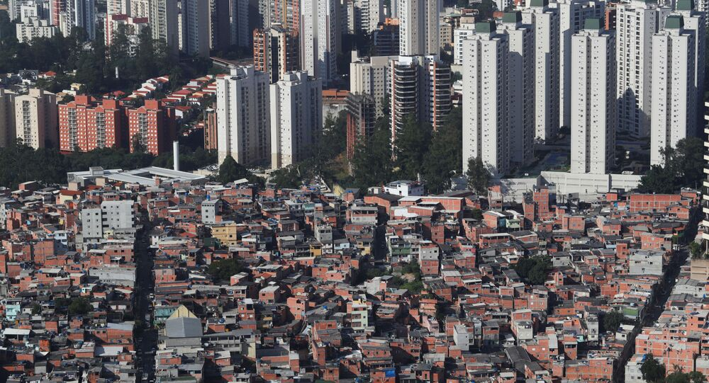 An aerial view shows the city's biggest slum Paraisopolis after residents have hired a round-the-clock private medical service to fight the coronavirus disease (COVID-19), in Sao Paulo, Brazil April 2, 2020