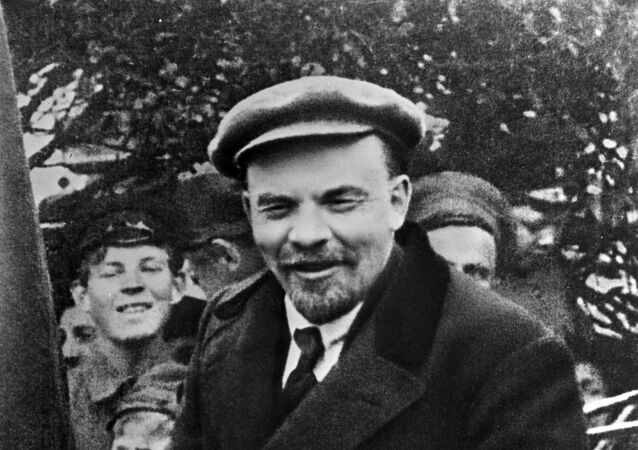 Vladimir Lenin in a car before leaving from Red Square on the Day of International Workers' Solidarity 1 May 1919