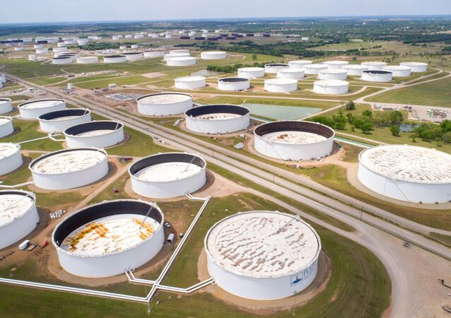 Crude oil storage tanks are seen in an aerial photograph at the Cushing oil hub in Cushing, Oklahoma, U.S. April 21, 2020