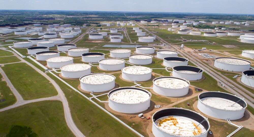 Crude oil storage tanks are seen in an aerial photograph at the Cushing oil hub in Cushing, Oklahoma, U.S. April 21, 2020.