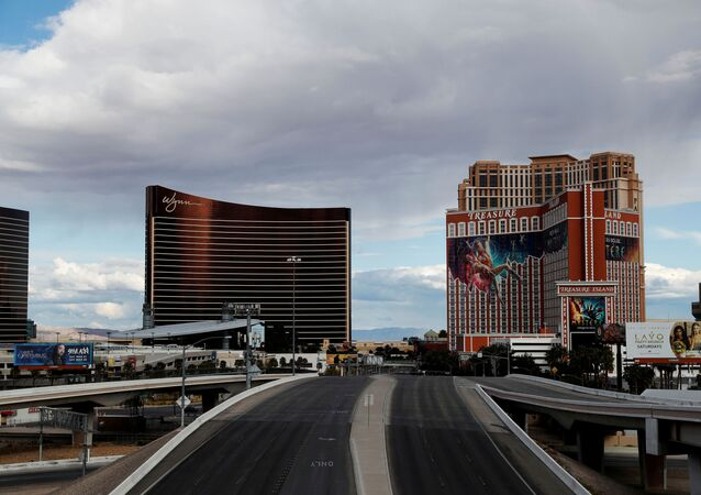 Empty roads leading into and out of the Las Vegas strip are seen as the spread of coronavirus disease (COVID-19) continues, in Las Vegas, Nevada U.S., April 9, 2020