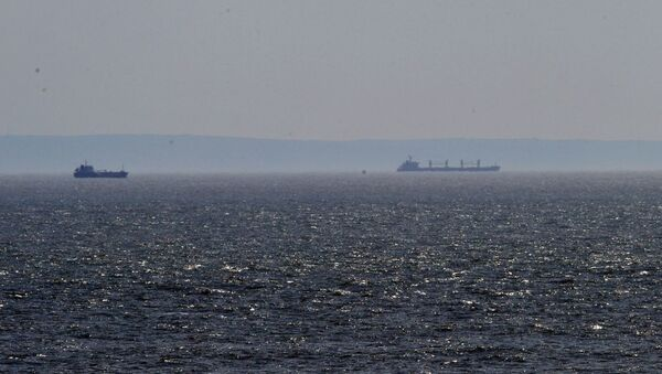 A number of large ships are sitting off shore in the Bristol channel  - Sputnik International