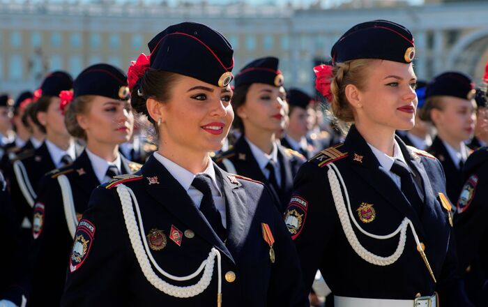 Victory Day Parade rehearsal in Saint Petersburg.
