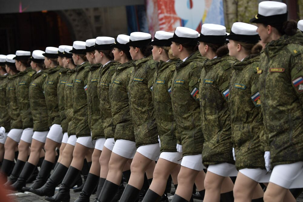 Servicewomen at the parade in Moscow commemorating the 72nd anniversary of the victory.