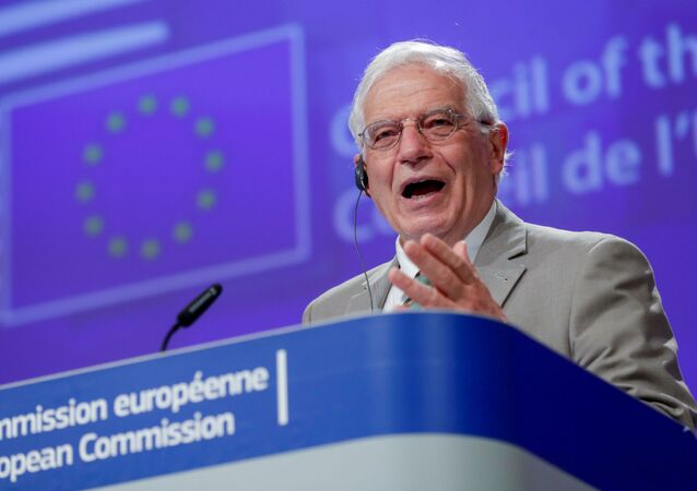 EU foreign policy chief Josep Borrell holds a virtual news conference at the end of a videoconference of EU foreign ministers in Brussels, Belgium, April 22, 2020
