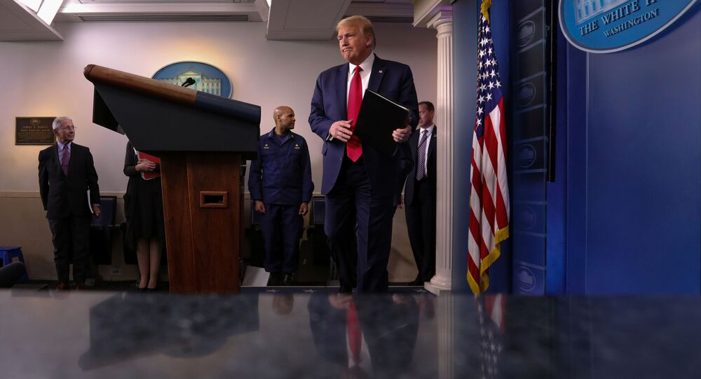 U.S. President Donald Trump arrives to address the daily coronavirus task force briefing at the White House in Washington, U.S., April 22, 2020.