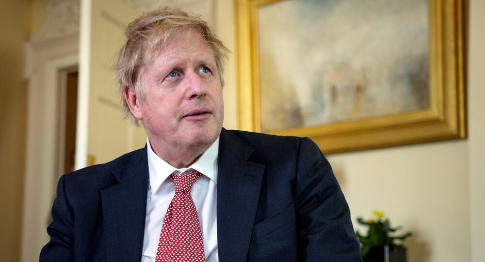 Prime Minister Boris Johnson thanks the NHS in a video message on Easter Sunday, in 10 Downing Street, London, Britain, April 12, 2020
