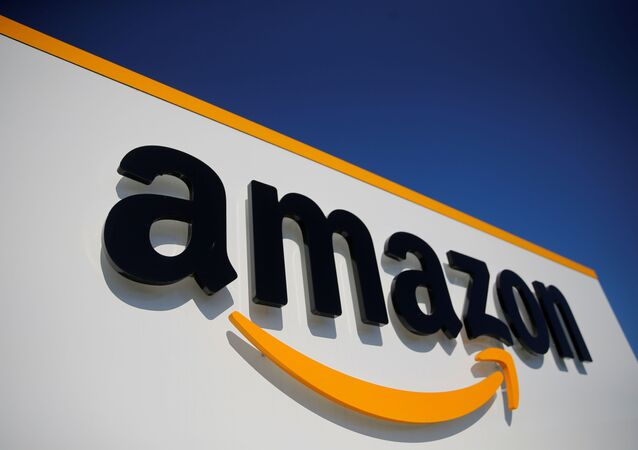 The logo of Amazon is seen at the company logistics center in Lauwin-Planque, northern France, April 22, 2020 after Amazon extended the closure of its French warehouses until April 25 included, following dispute with unions over health protection measures amid the coronavirus disease (COVID-19) outbreak