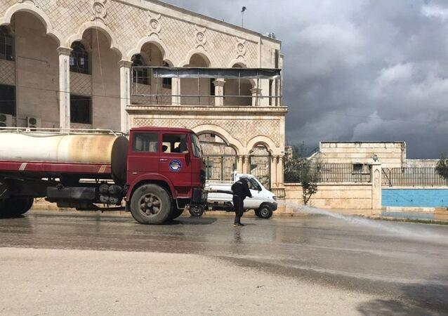 Disinfection in Latakia, Syria
