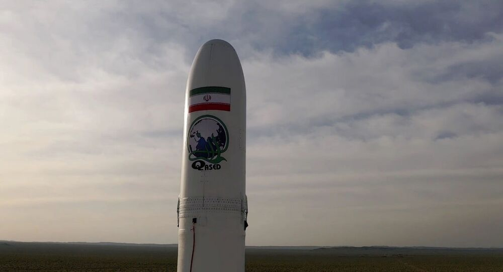 A first military satellite named Noor is seen to be launched into orbit by Iran's Revolutionary Guards Corps, in Semnan, Iran April 22, 2020