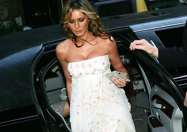 Gala vice-chair Melania Trump, wife of Donald Trump, arrives at the Martha Graham Dance Company opening night gala at New York City Center on April 6, 2005 in New York City.
