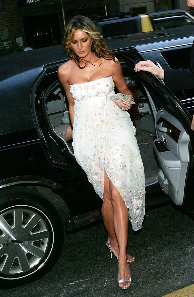 Melania Trump, wife of Donald Trump, arrives at the Martha Graham Dance Company opening night gala at New York City Center on April 6, 2005 in New York City.