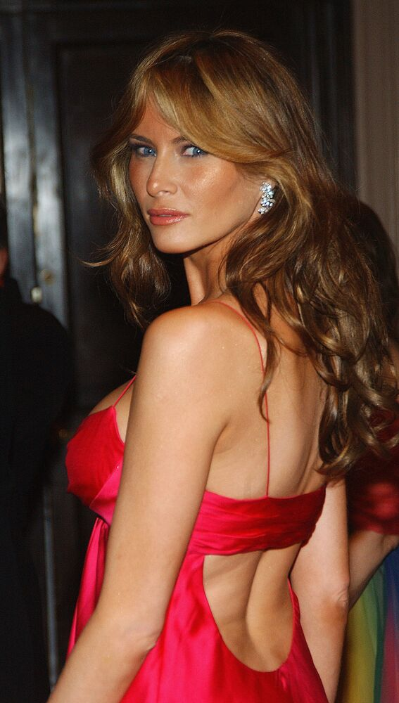 Melania Trump arrives at the Breast Cancer Research Foundation's Annual Hot Pink Party at the Waldorf-Astoria on April 20, 2005 in New York.