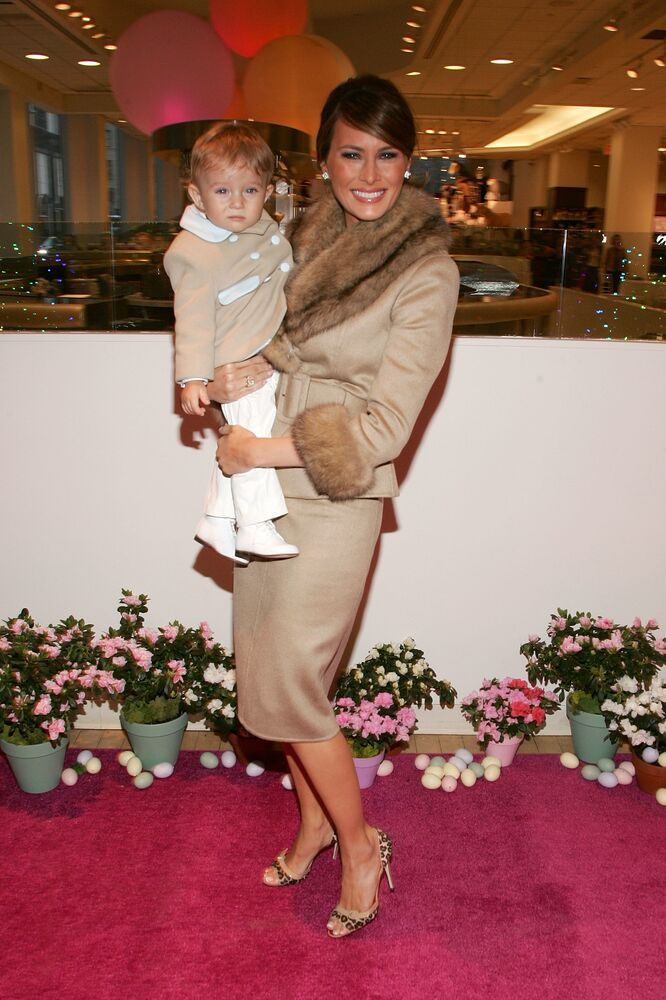 Melania Trump and her son Baron attend the Society of Memorial Sloan-Kettering Cancer Center's 16th Annual Bunny Hop at FAO toy store March 13, 2007 in New York City.