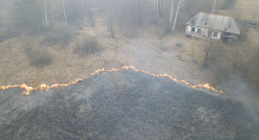 An aerial view shows grass and plants on fire, as an operation to extinguish wildfires around the defunct Chernobyl nuclear plant continues, in Lyudvynivka in Kiev Region, Ukraine 18 April 2020.