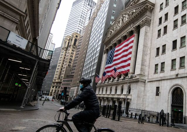 The New York Stock Exchange (NYSE) is seen in the financial district of lower Manhattan during the outbreak of the coronavirus disease (COVID-19) in New York City, U.S., April 26, 2020.
