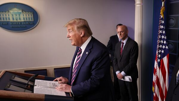 U.S. President Donald Trump leads the daily coronavirus task force briefing as Food and Drug Administration (FDA) Commissioner Dr. Stephen Hahn listens at the White House in Washington, U.S., April 24, 2020 - Sputnik International
