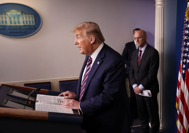 U.S. President Donald Trump leads the daily coronavirus task force briefing as Food and Drug Administration (FDA) Commissioner Dr. Stephen Hahn listens at the White House in Washington, U.S., April 24, 2020