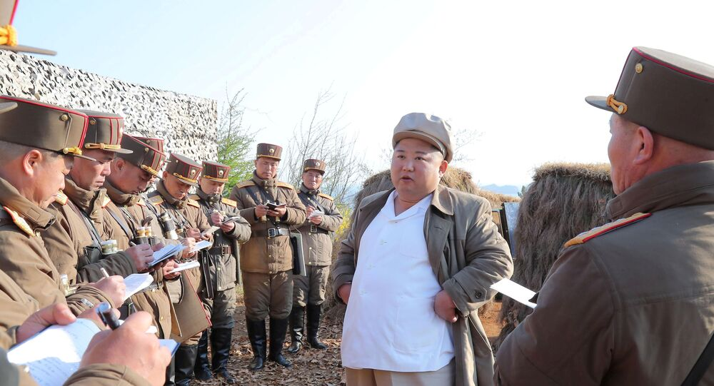 North Korean leader Kim Jong Un guides a drill of mortar sub-units of North Korean Army in this image released by North Korea's Korean Central News Agency (KCNA) on April 10, 2020