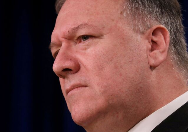 U.S. Secretary of State Mike Pompeo addresses a news conference at the State Department in Washington, U.S., April 7, 2020