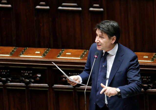 Italian Prime Minister Giuseppe Conte addresses the lower house of parliament on the coronavirus disease (COVID-19) in Rome, Italy April 21, 2020.